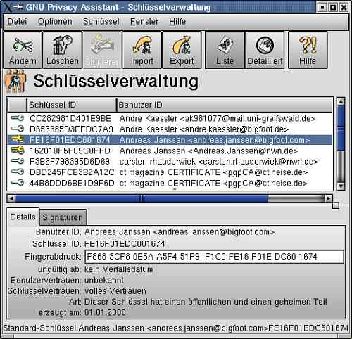 Gnu Privacy Assistant - Screenshot